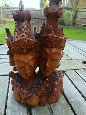 Bali balinese carved wooden woodtwo ladies figure bust