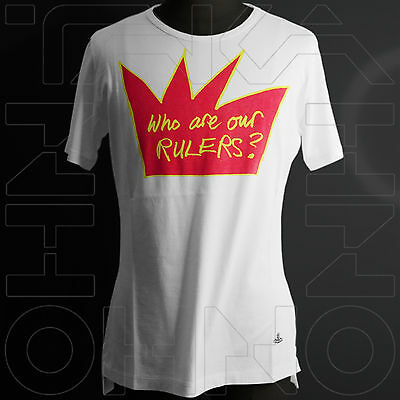 VIVIENNE WESTWOOD MAN JAPAN CHEST 39.5 WHO ARE OUR RULERS ? T-SHIRT COTTON crown