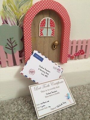 6 Personalised miniature Tooth Fairy envelopes and card perfect size for coins