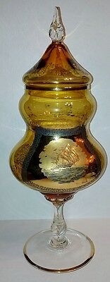 Big Bohemian Style Hand Blown Amber & Gold Glass Apothecary Jar 16""