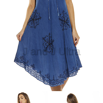 037e94cc437 Riviera Sun Lace Up Acid Wash Embroidered Dress Short Sleeve Dresses for  Women