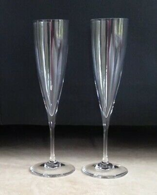 Pair Of Baccarat Crystal DOM PERIGNON Champagne Flute Glasses Double Signed $269