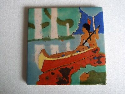 Large Size San Jose Mission Art Pottery Tile Indian Canoe Arts & Crafts  8X8 In.