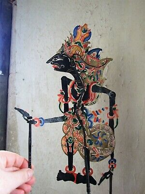 Antique Indonesian Shadow Puppet Handpainted Leather Horn 17.5in Tall
