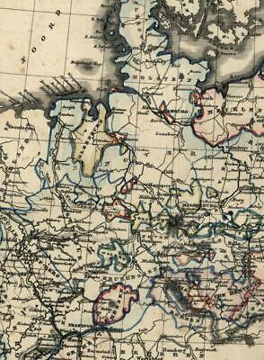 Northern Germany Prussia Poland Denmark France c. 1865 Petri rare antique map