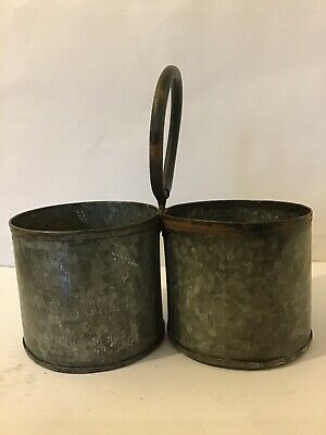 Antique Spice Canisters Carriers Galvanised Metal Pair Duo
