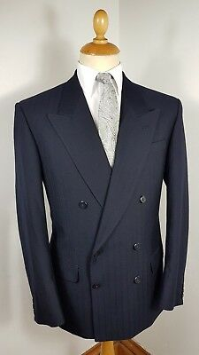 Suit Double Breasted Blue Wool 2 Piece Vintage Savoy Tailors Guild Med 40 Reg