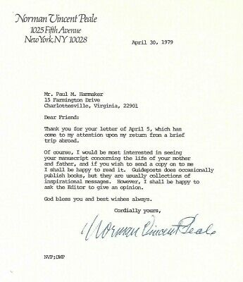 NORMAN VINCENT PEALE 	signed letter 1979  Minister   Power of Positive Thinking