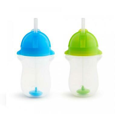 Munchkin Click Lock Any Angle 2 Piece Weighted Straw Cup, Blue/Green