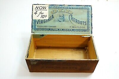 Antique Old Virginia Cheroots Black Americana Wooden Cigar Box Uncle Remus N2