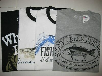 Nwt Men's Chaps T Shirt Fish / Marina Print 100% Cotton - Pick Your Style And Sz