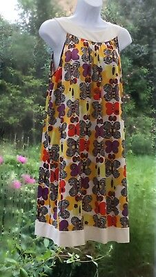 Vintage 60s Butterfly Printed Boho Festival Party Mini Dress Top Tunic Retro USA