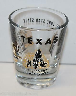 Shot Glass  Texas ( Gold & Black )  Bluebonnet State Flower, The Lone Star State