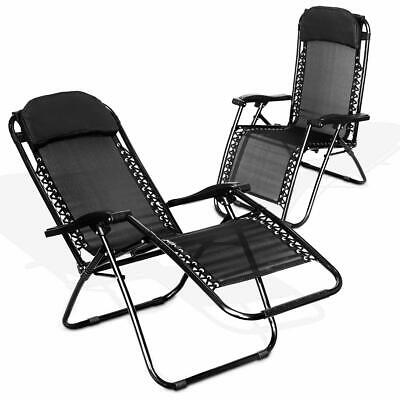 1 x Reclining Sun Lounger Outdoor Garden Patio Gravity Chair Adjustable Head