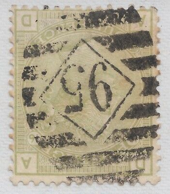 "GB QV 4d Sage-Green SG153Wi Plate 16 Inverted Watermark ""AD"" Used 1877 Stamp"