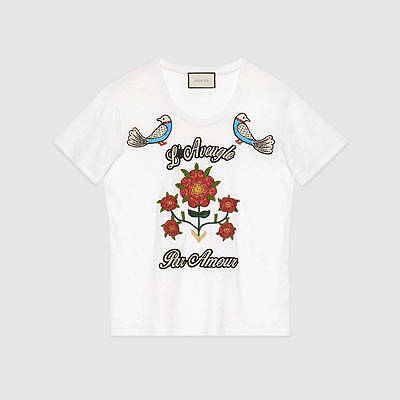 61cd9e9cd550 GUCCI 1200$ Authentic New White Linen Jersey Floral Amour Embroidered Tshirt