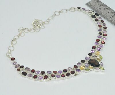 925 Silver Plated Natural Cut Purple Amethyst And Mix Necklace Jewellery Rv359