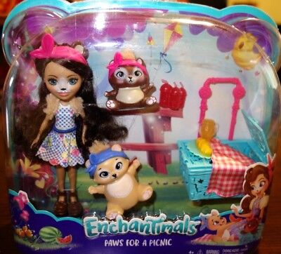 Enchantimals Paws for a Picnic Doll Playset NEW /& SEALED!