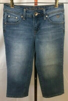 Justice Simply Low Girls Blue Straight Leg Capri Jeans Size 12 S