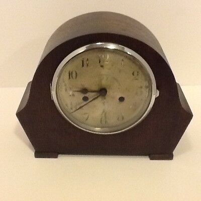 Vintage Oak Cased Deco Style Twin Train Enfield Mantel Clock,spares or repair