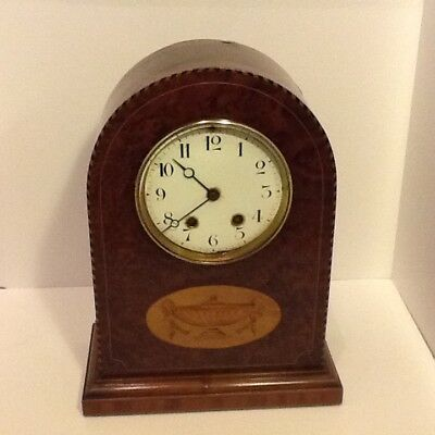 Edwardian Burr Walnut InLaid Twin Train Mantel Clock,Japy Freres Mech,for repair