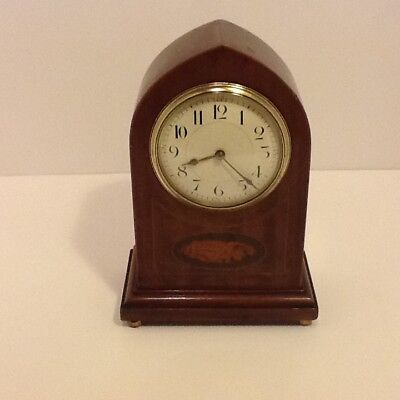 Edwardian Walnut Dome Cased 8 Day Mantel Clock white enamelled dial shell inlaid