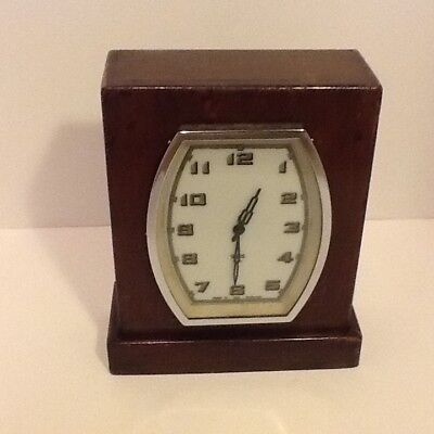 Art Deco Smiths Rectangular Oak Cased Mantel Clock,Chromed Enamel Dial,working