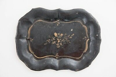 Antique 19th Century French Black and Gold Hand Painted Tole Toleware Tray