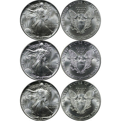 1986 American Silver Eagles, Lot of (3) Better Date Coins, First Year of Issue