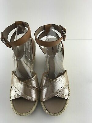 1b38705005 Womens Donald Pliner INES Silver Leather Espadrille Wedge Sandal Size 9.5M