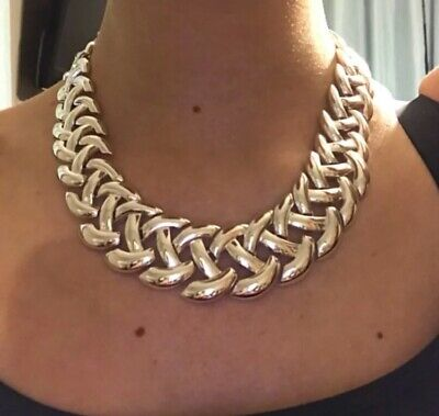 RARE Napier Silver Tone criss cross vintage necklace