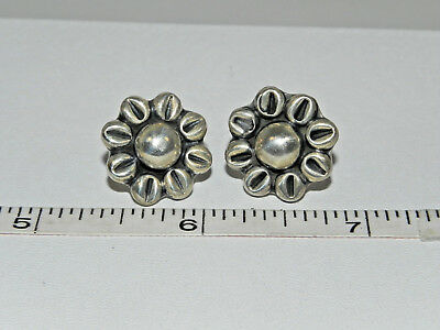 Vintage Hand Crafted Sterling Silver Sunflower Pierced Earrings