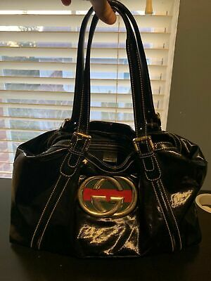 6a3b7473a769 GUCCI Dialux Medium Britt Handbag Patent Leather Black 162094213317  Authentic