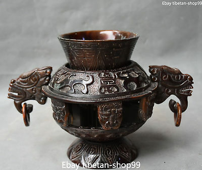 """10"""" Rare Chinese Ox Horn Ancient Dragon Beast Vehicle Tumbler Oxhorn Cup Statue"""