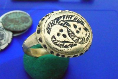 CV Restored Romano-Celtic Bronze Ring ARCHAIC SWIRL SYMBOLS ~ Leaf Swirls