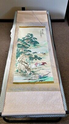 Antique Chinese Fine Wood Block Print Silk Scroll Signed Calligraphy Full 6'