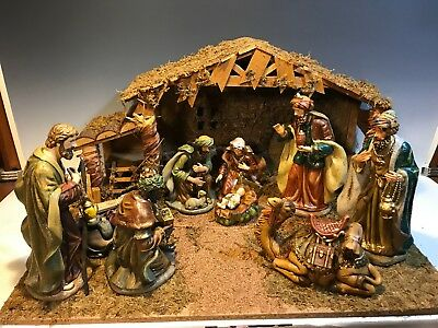 Special Times 26pc Collectible Porcelain Nativity Scene With Wood Creche Set