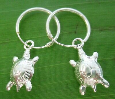 "REAL 925 sterling silver 14mm sleepers with ""turtle"" charm hook earrings Women"