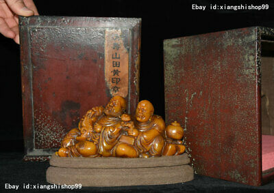 Chinese Tianhuang Shoushan Stone Carving lion Two arhat Monk Statue Wood Box Set