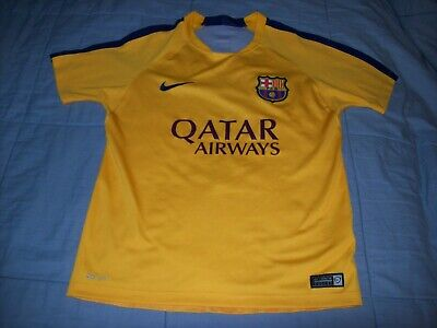 8cb5e916608 Nike Authentic Dri-Fit Fcb Fc Barcelona Qatar Youth Soccer Jersey Medium  Yellow