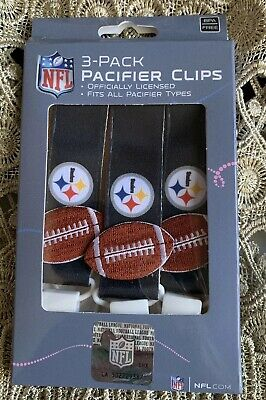 a9ea9be4 NWT NFL Pittsburgh Steelers 3pc Premium Pacifier Clip Set Infant Baby Unisex
