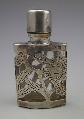 Vintage Hecho Mexico Sterling Silver 925 Overlay Miniature Floral Perfume Bottle