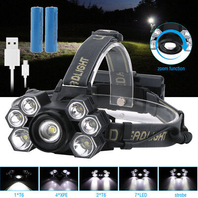 Bright 90000Lm Zoomable XML T6 7LED Headlamp Head Light Torch Lamp 18650 Battery