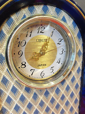 RARE Upcycled Clock MANTLE COUNTERTOP Quartz Battery Operated Woven Textile