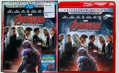 Marvel Avengers Age Of Ultron 3D/2D Blu Ray + Rare Oop Slipcover & Red Case Htf