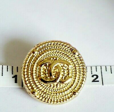 Chanel buttons Lot 2 size 20 mm 0,8 inch Logo CC metal Gold  tone metal