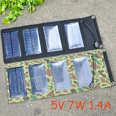 Portable 5V 7W Foldable Solar Panel Battery Charger USB Output Power Bank Pack