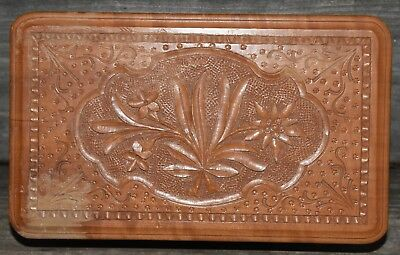"Vintage Victorian Aesthetic Style Carved Wood Jewelry Trinket Box Floral 9.5""L"
