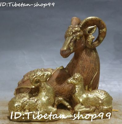 Unique Chinese Old Jade Painting Gilt Feng Shui Sheep Sheeps Goat Animal Statue