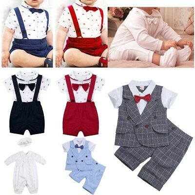 Toddler Kids Baby Boys Gentleman Suit Jumpsuit Romper Party Wedding Outfits Set